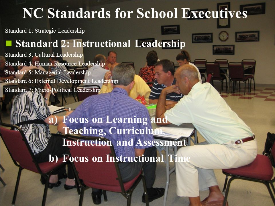 13 NC Standards for School Executives Standard 1: Strategic Leadership Standard 2: Instructional Leadership Standard 3: Cultural Leadership Standard 4