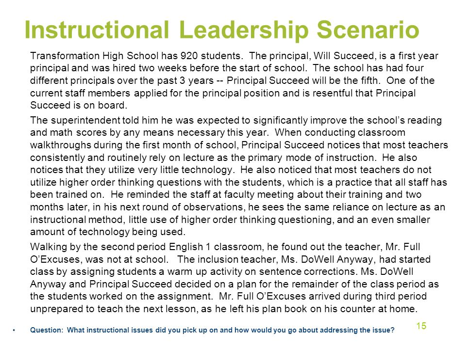 Instructional Leadership Scenario Transformation High School has 920 students.