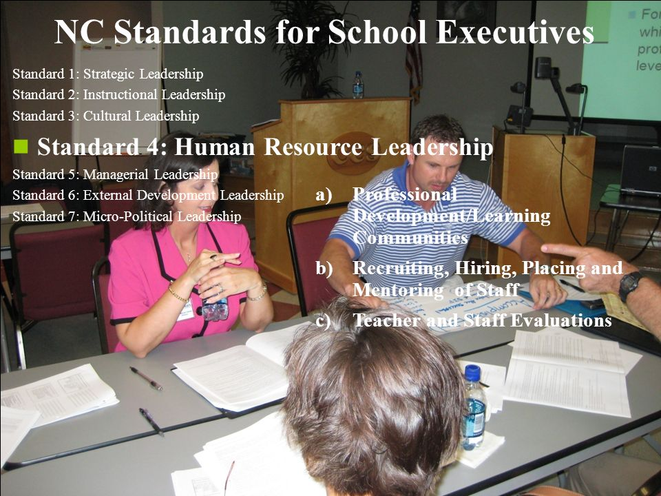 20 NC Standards for School Executives Standard 1: Strategic Leadership Standard 2: Instructional Leadership Standard 3: Cultural Leadership Standard 4: Human Resource Leadership Standard 5: Managerial Leadership Standard 6: External Development Leadership Standard 7: Micro-Political Leadership a)Professional Development/Learning Communities b)Recruiting, Hiring, Placing and Mentoring of Staff c)Teacher and Staff Evaluations