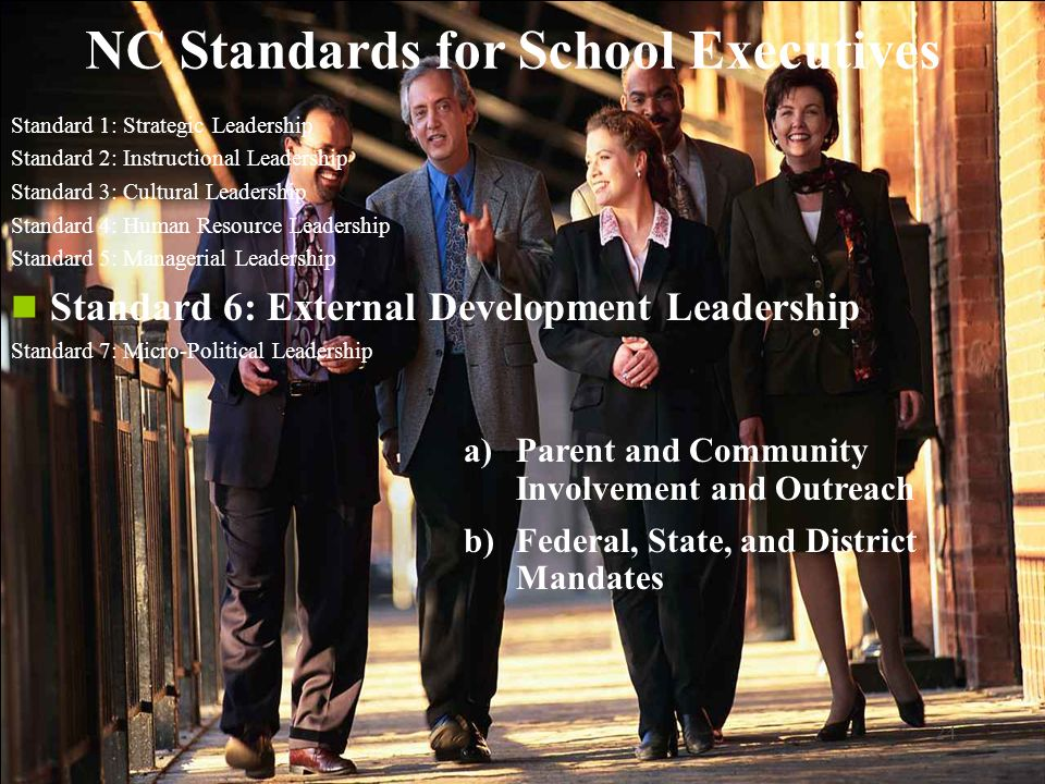24 NC Standards for School Executives Standard 1: Strategic Leadership Standard 2: Instructional Leadership Standard 3: Cultural Leadership Standard 4: Human Resource Leadership Standard 5: Managerial Leadership Standard 6: External Development Leadership Standard 7: Micro-Political Leadership a)Parent and Community Involvement and Outreach b)Federal, State, and District Mandates