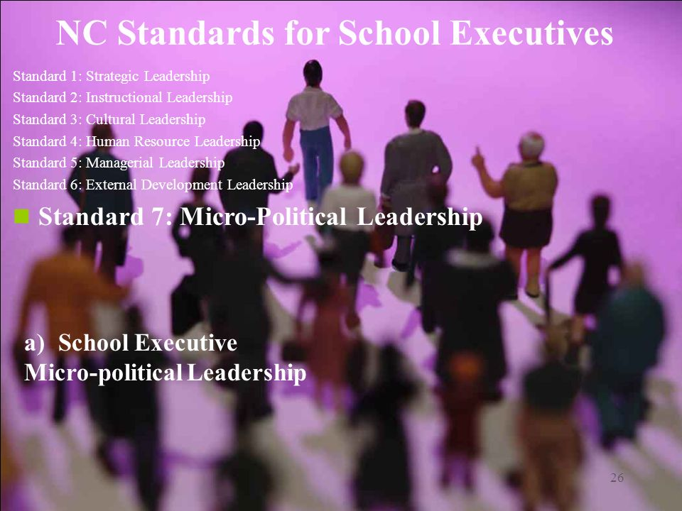 26 NC Standards for School Executives Standard 1: Strategic Leadership Standard 2: Instructional Leadership Standard 3: Cultural Leadership Standard 4