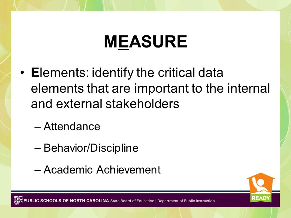 MEASURE Elements: identify the critical data elements that are important to the internal and external stakeholders –Attendance –Behavior/Discipline –A