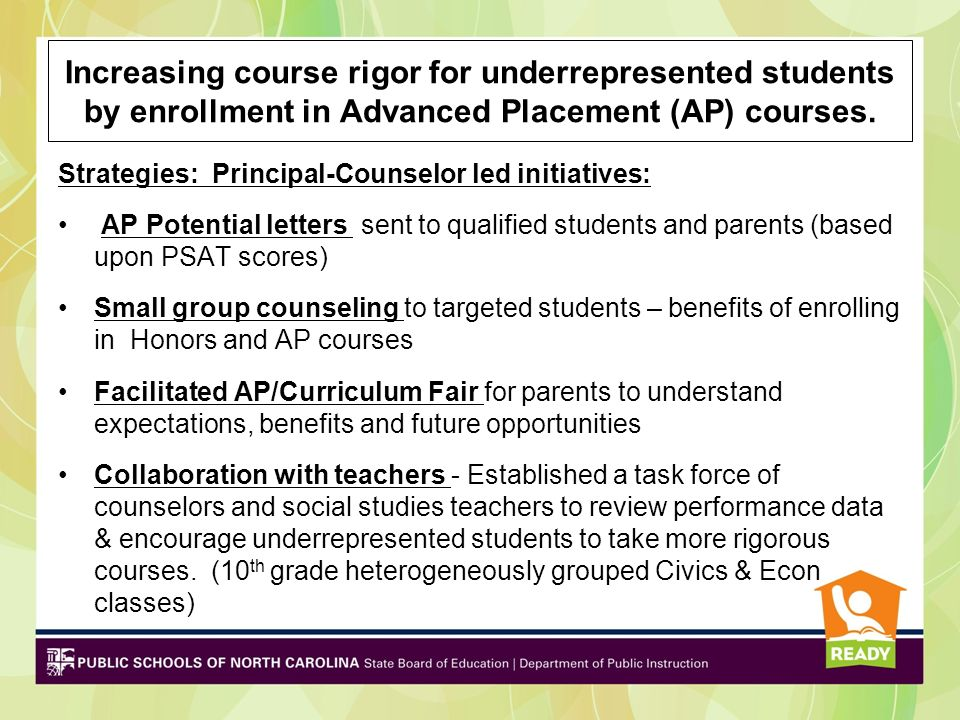 Increasing course rigor for underrepresented students by enrollment in Advanced Placement (AP) courses. Strategies: Principal-Counselor led initiative
