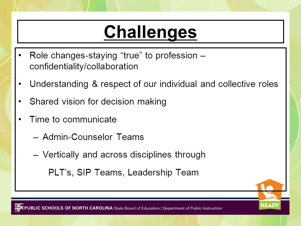 Challenges Role changes-staying true to profession – confidentiality/collaboration Understanding & respect of our individual and collective roles Shar