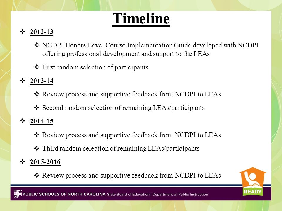 Timeline 2012-13 NCDPI Honors Level Course Implementation Guide developed with NCDPI offering professional development and support to the LEAs First random selection of participants 2013-14 Review process and supportive feedback from NCDPI to LEAs Second random selection of remaining LEAs/participants 2014-15 Review process and supportive feedback from NCDPI to LEAs Third random selection of remaining LEAs/participants 2015-2016 Review process and supportive feedback from NCDPI to LEAs