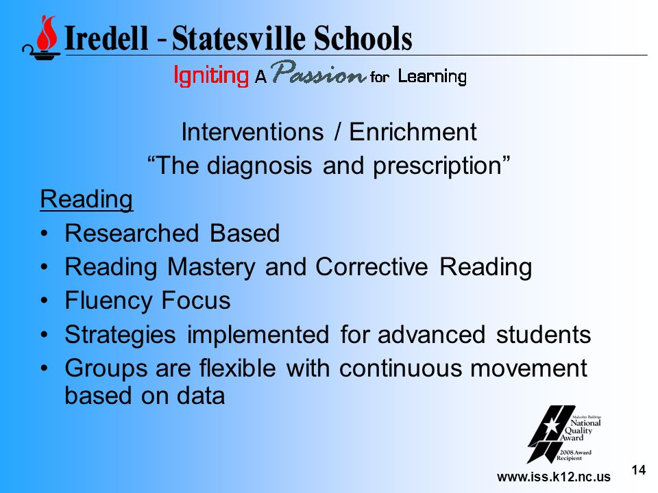 www.iss.k12.nc.us 14 Interventions / Enrichment The diagnosis and prescription Reading Researched Based Reading Mastery and Corrective Reading Fluency