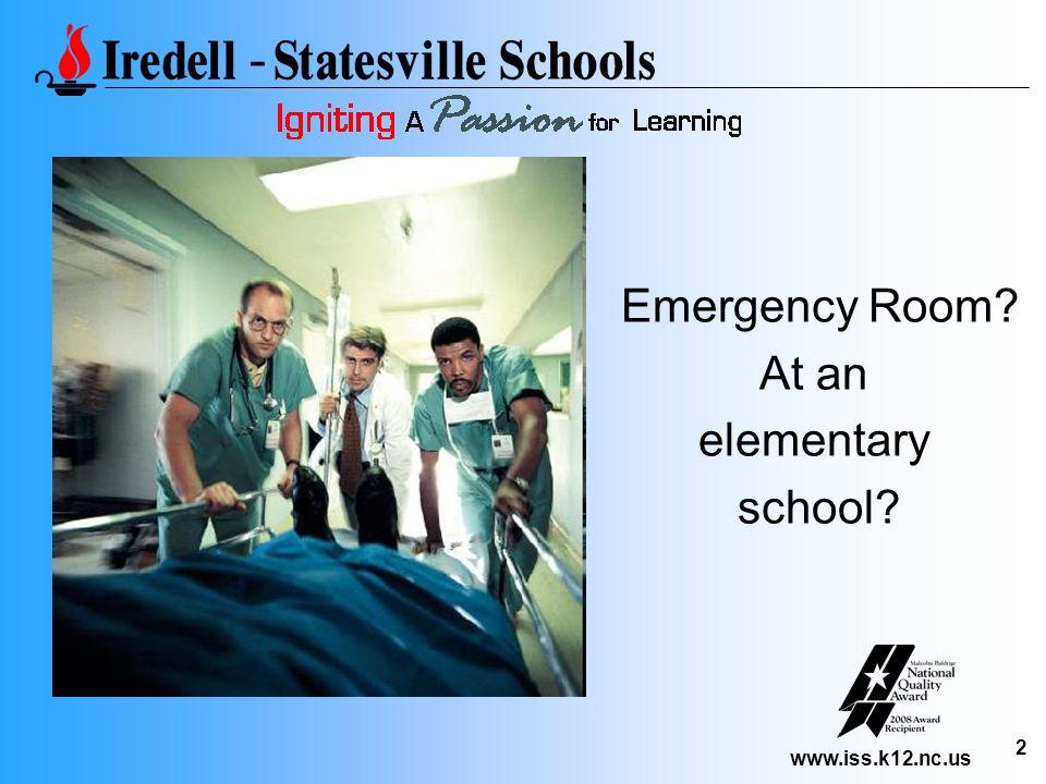 www.iss.k12.nc.us 2 Emergency Room? At an elementary school?