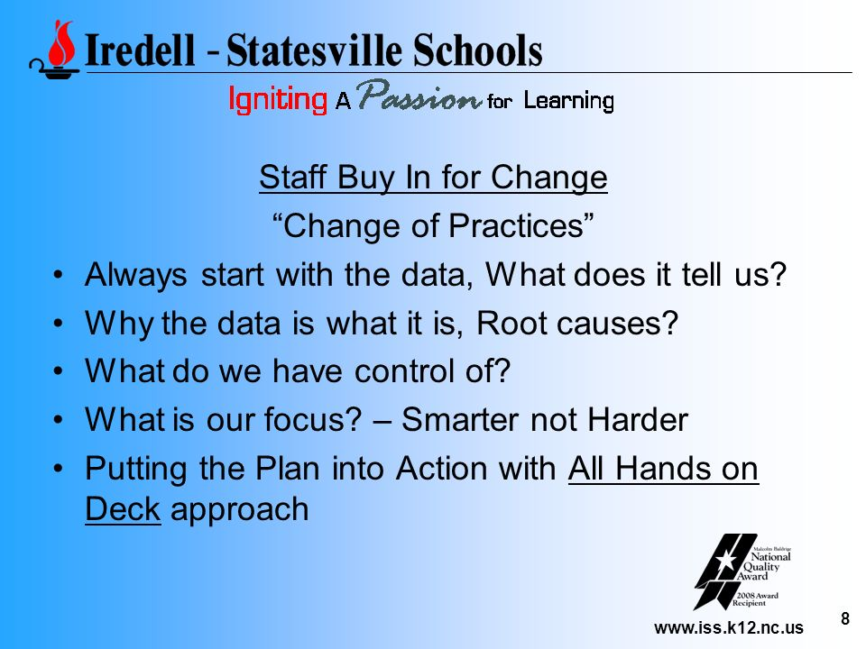 www.iss.k12.nc.us 8 Staff Buy In for Change Change of Practices Always start with the data, What does it tell us? Why the data is what it is, Root cau