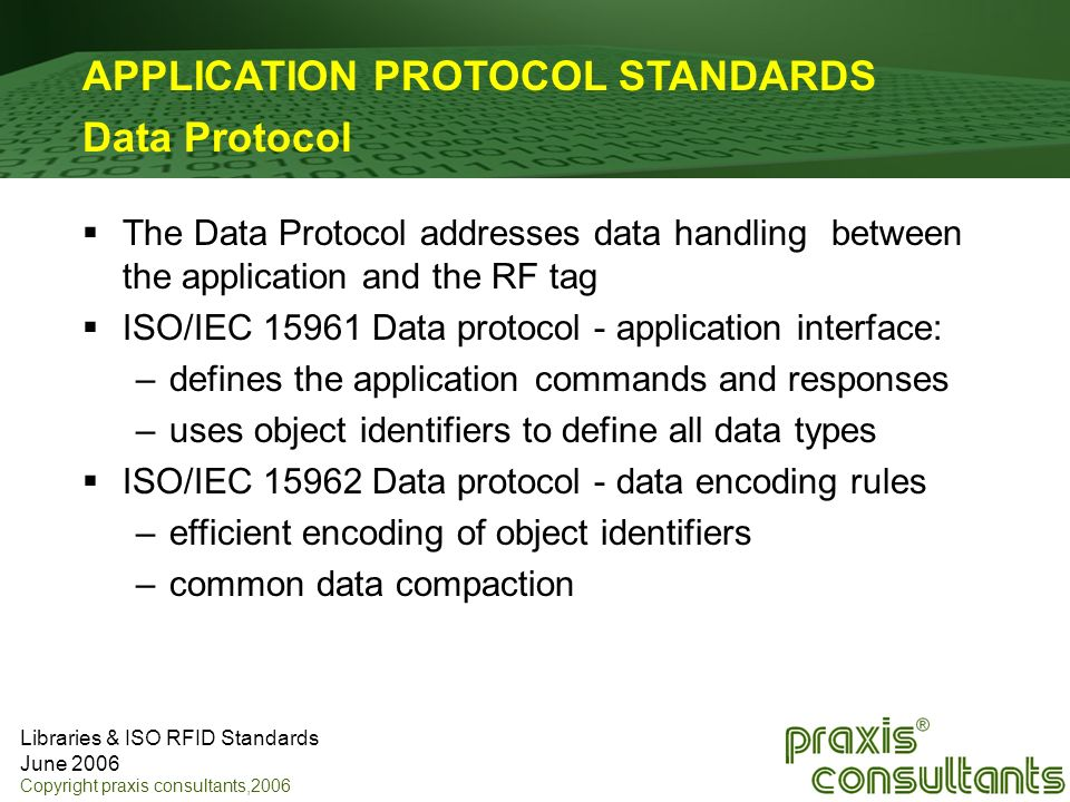 Libraries & ISO RFID Standards June 2006 Copyright praxis consultants,2006 APPLICATION PROTOCOL STANDARDS Data Protocol The Data Protocol addresses da