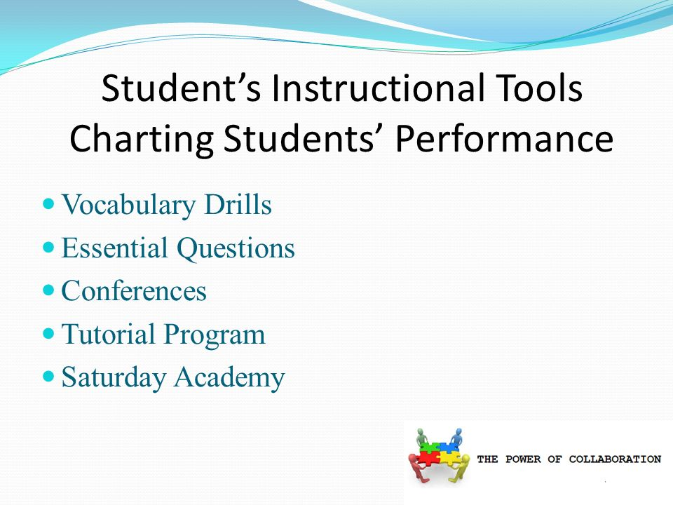 Students Instructional Tools Charting Students Performance Vocabulary Drills Essential Questions Conferences Tutorial Program Saturday Academy