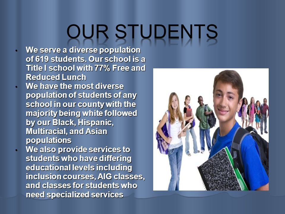 We serve a diverse population of 619 students.