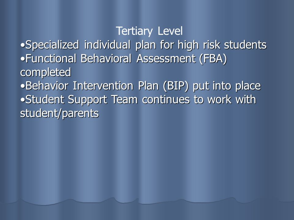 Tertiary Level Specialized individual plan for high risk studentsSpecialized individual plan for high risk students Functional Behavioral Assessment (FBA) completedFunctional Behavioral Assessment (FBA) completed Behavior Intervention Plan (BIP) put into placeBehavior Intervention Plan (BIP) put into place Student Support Team continues to work with student/parentsStudent Support Team continues to work with student/parents