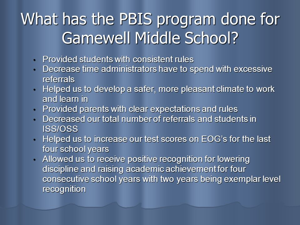 What has the PBIS program done for Gamewell Middle School.