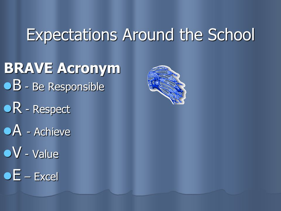 Expectations Around the School BRAVE Acronym B - Be Responsible B - Be Responsible R - Respect R - Respect A - Achieve A - Achieve V - Value V - Value E – Excel E – Excel
