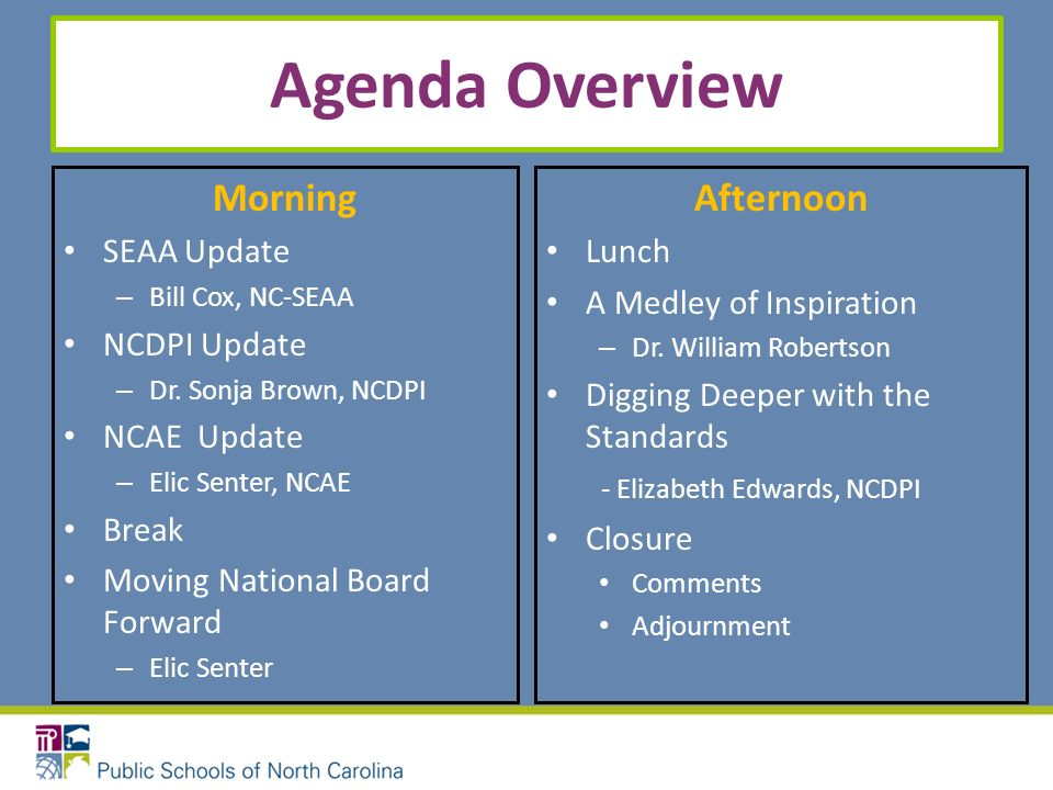 Agenda Overview Morning SEAA Update – Bill Cox, NC-SEAA NCDPI Update – Dr. Sonja Brown, NCDPI NCAE Update – Elic Senter, NCAE Break Moving National Bo