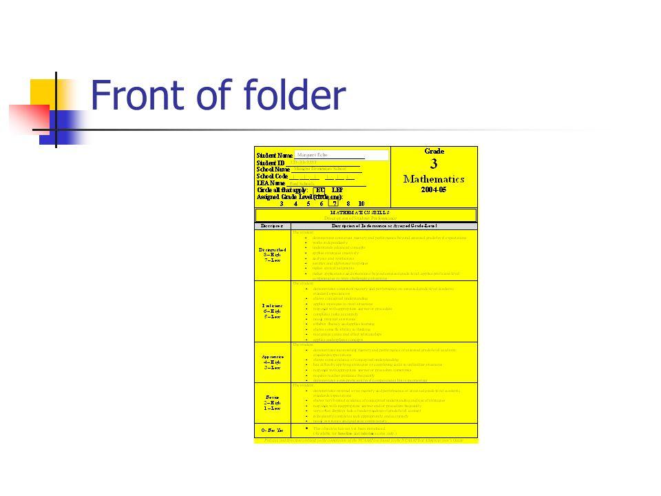 Front of folder