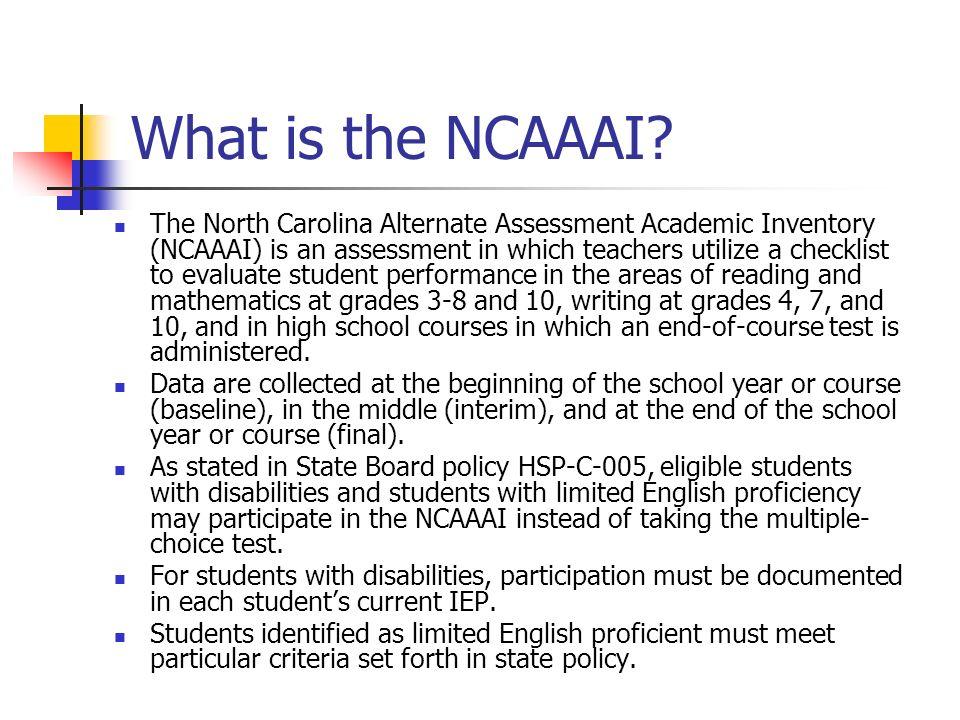 Principals Responsibilities Assigns assessors for each NCAAAI.