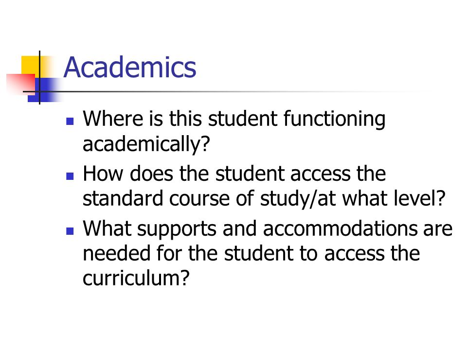 Types of Assessments Used What types of assessment has the student used previously.