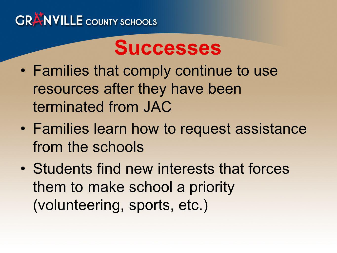 Successes Families that comply continue to use resources after they have been terminated from JAC Families learn how to request assistance from the schools Students find new interests that forces them to make school a priority (volunteering, sports, etc.)