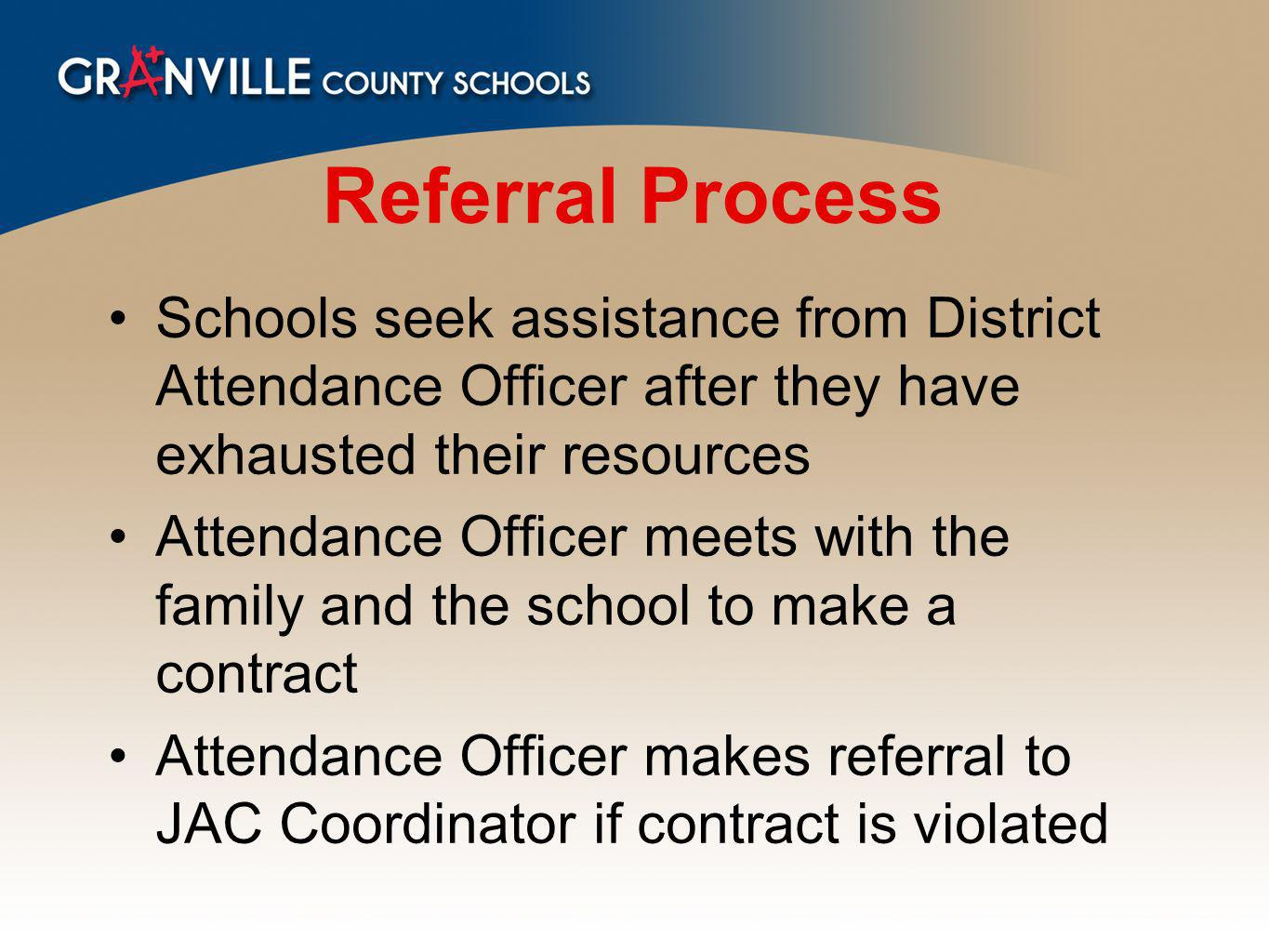 Referral Process Schools seek assistance from District Attendance Officer after they have exhausted their resources Attendance Officer meets with the family and the school to make a contract Attendance Officer makes referral to JAC Coordinator if contract is violated