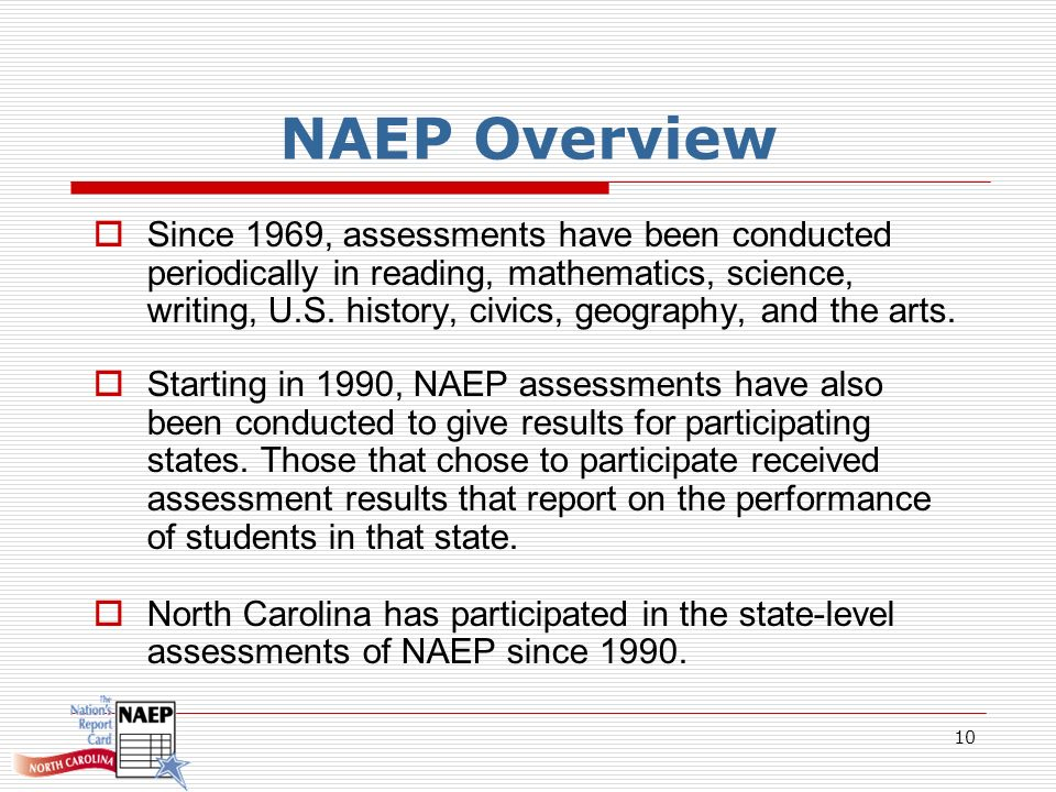 10 NAEP Overview Since 1969, assessments have been conducted periodically in reading, mathematics, science, writing, U.S.