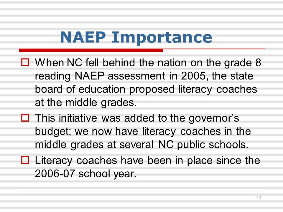 14 NAEP Importance When NC fell behind the nation on the grade 8 reading NAEP assessment in 2005, the state board of education proposed literacy coaches at the middle grades.