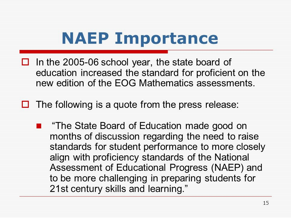 15 NAEP Importance In the 2005-06 school year, the state board of education increased the standard for proficient on the new edition of the EOG Mathematics assessments.