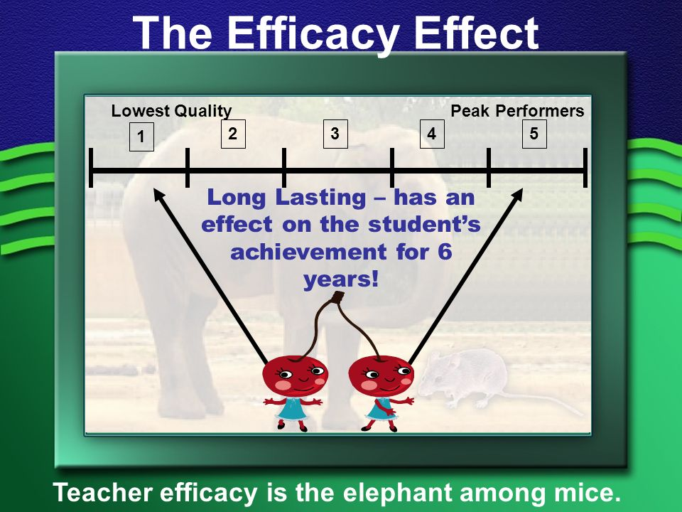 The Efficacy Effect Teacher efficacy is the elephant among mice.