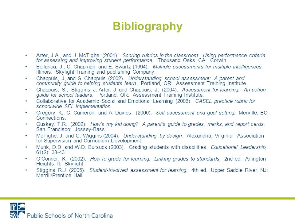 Bibliography Arter, J.A., and J.McTighe (2001).