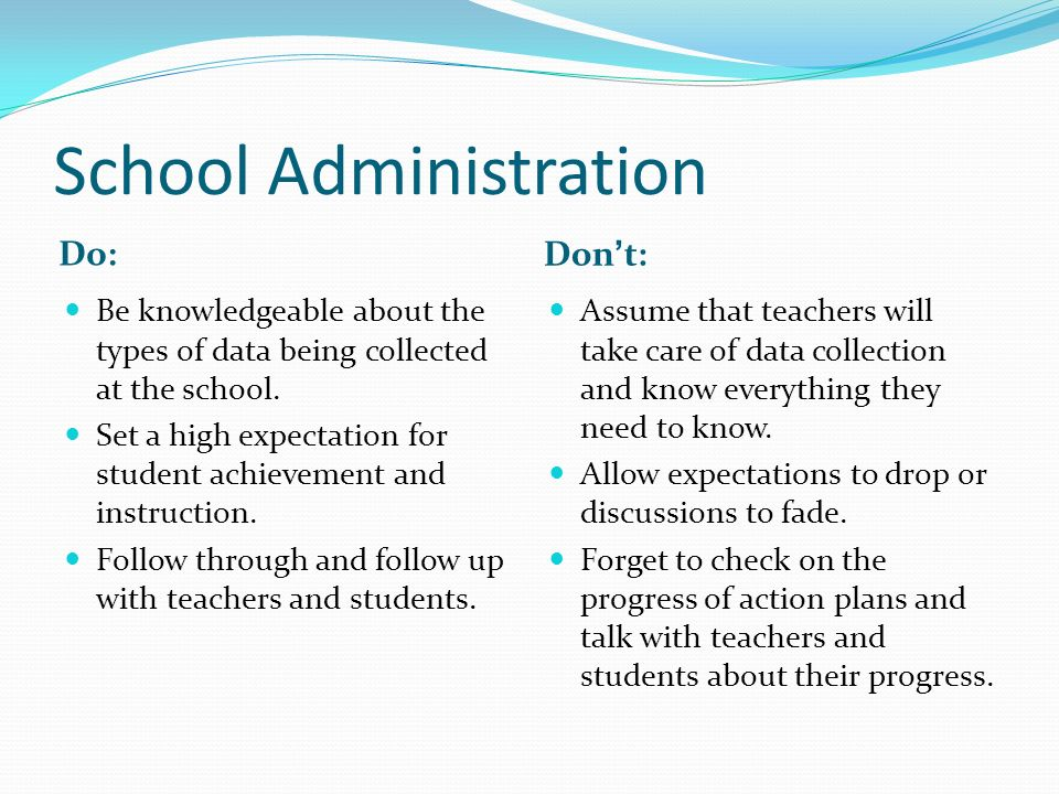 School Administration Do: Dont: Be knowledgeable about the types of data being collected at the school. Set a high expectation for student achievement