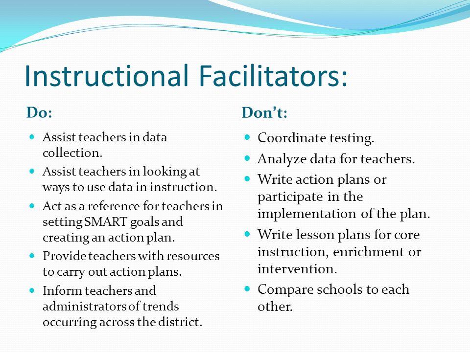 Instructional Facilitators: Do: Dont: Assist teachers in data collection.