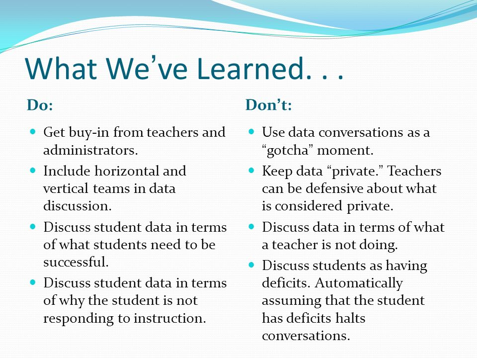What Weve Learned... Do: Dont: Get buy-in from teachers and administrators. Include horizontal and vertical teams in data discussion. Discuss student