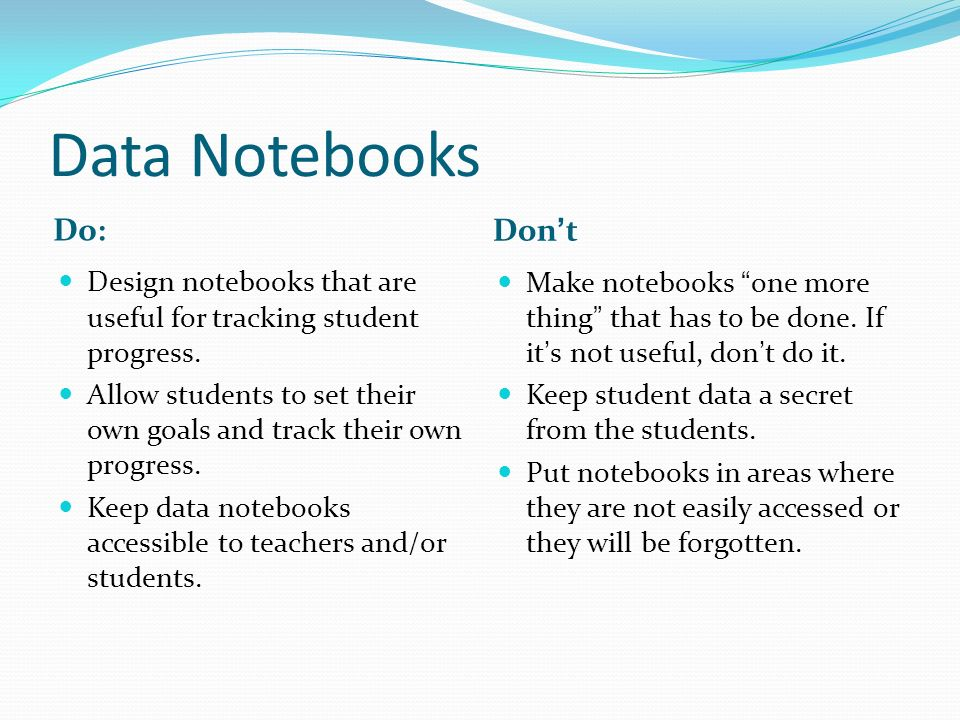 Data Notebooks Do: Dont Design notebooks that are useful for tracking student progress.