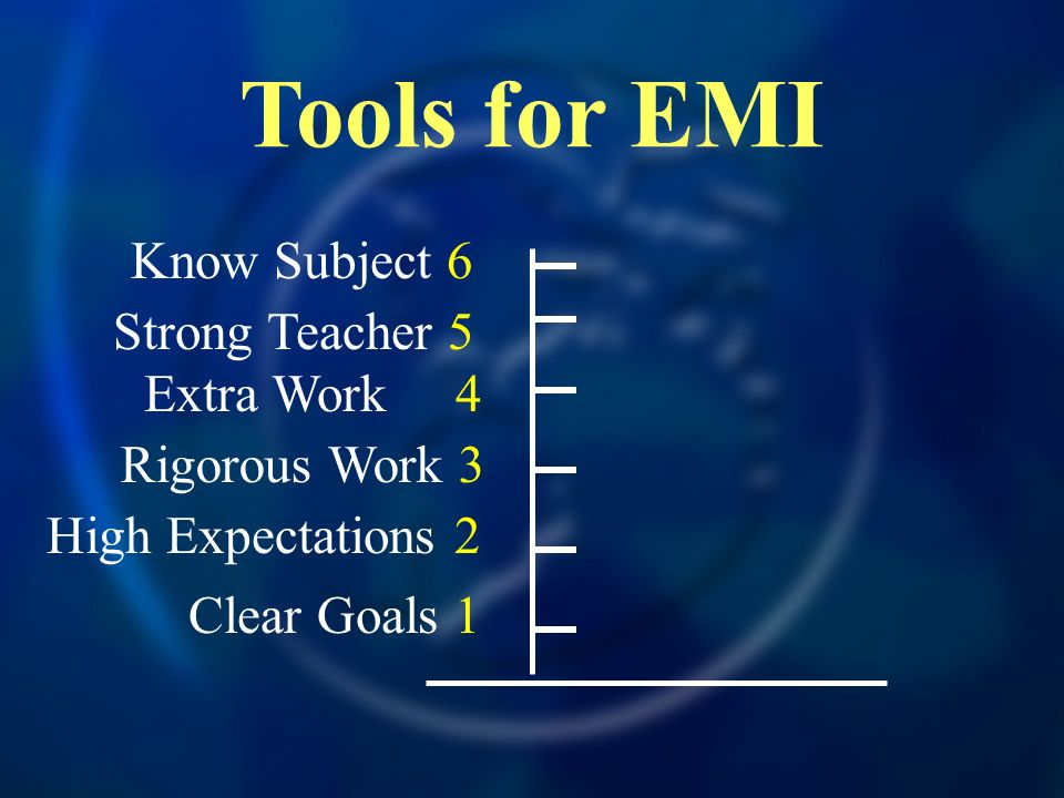 Tools for EMI Extra Work 4 Strong Teacher 5 Know Subject 6 Rigorous Work 3 High Expectations 2 Clear Goals 1