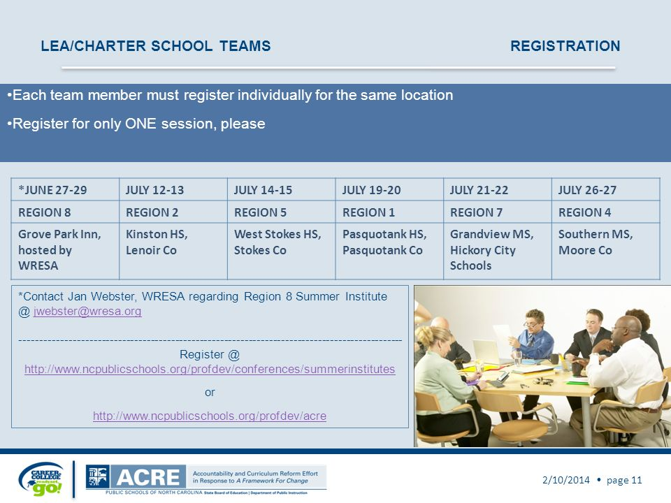 2/10/2014 page 11 LEA/CHARTER SCHOOL TEAMSREGISTRATION Each team member must register individually for the same location Register for only ONE session, please *JUNE 27-29JULY 12-13JULY 14-15JULY 19-20JULY 21-22JULY 26-27 REGION 8REGION 2REGION 5REGION 1REGION 7REGION 4 Grove Park Inn, hosted by WRESA Kinston HS, Lenoir Co West Stokes HS, Stokes Co Pasquotank HS, Pasquotank Co Grandview MS, Hickory City Schools Southern MS, Moore Co *Contact Jan Webster, WRESA regarding Region 8 Summer Institute @ jwebster@wresa.orgjwebster@wresa.org ---------------------------------------------------------------------------------------------- Register @ http://www.ncpublicschools.org/profdev/conferences/summerinstitutes or http://www.ncpublicschools.org/profdev/acre