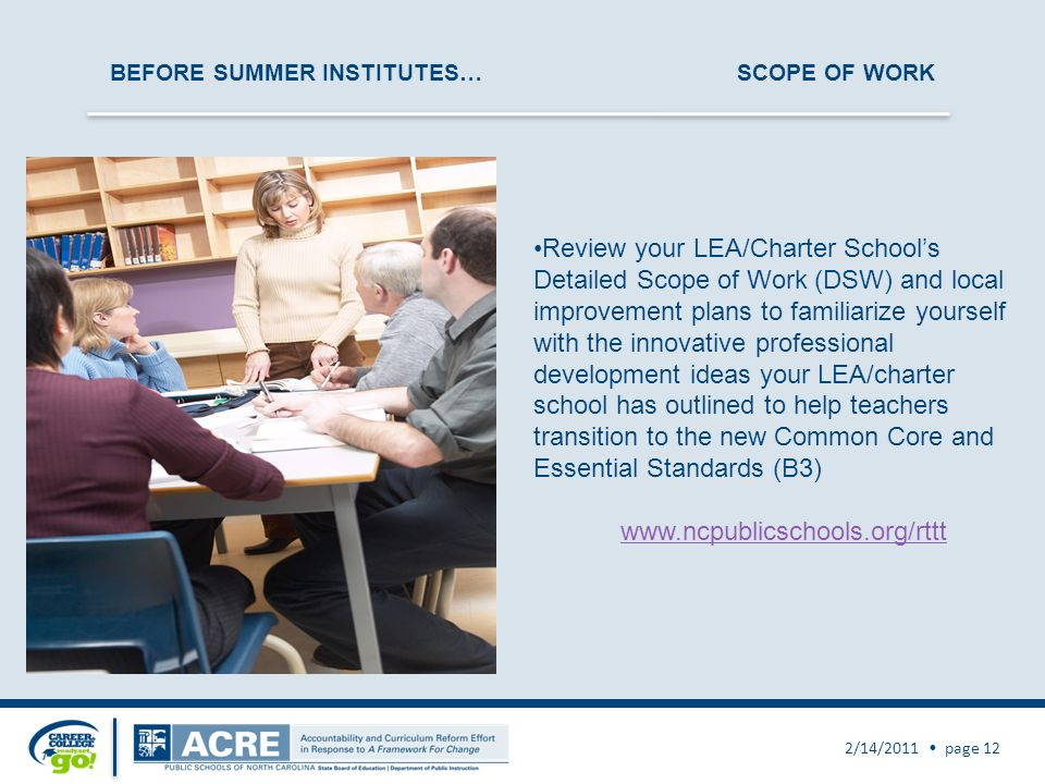 BEFORE SUMMER INSTITUTES…SCOPE OF WORK 2/14/2011 page 12 Review your LEA/Charter Schools Detailed Scope of Work (DSW) and local improvement plans to f