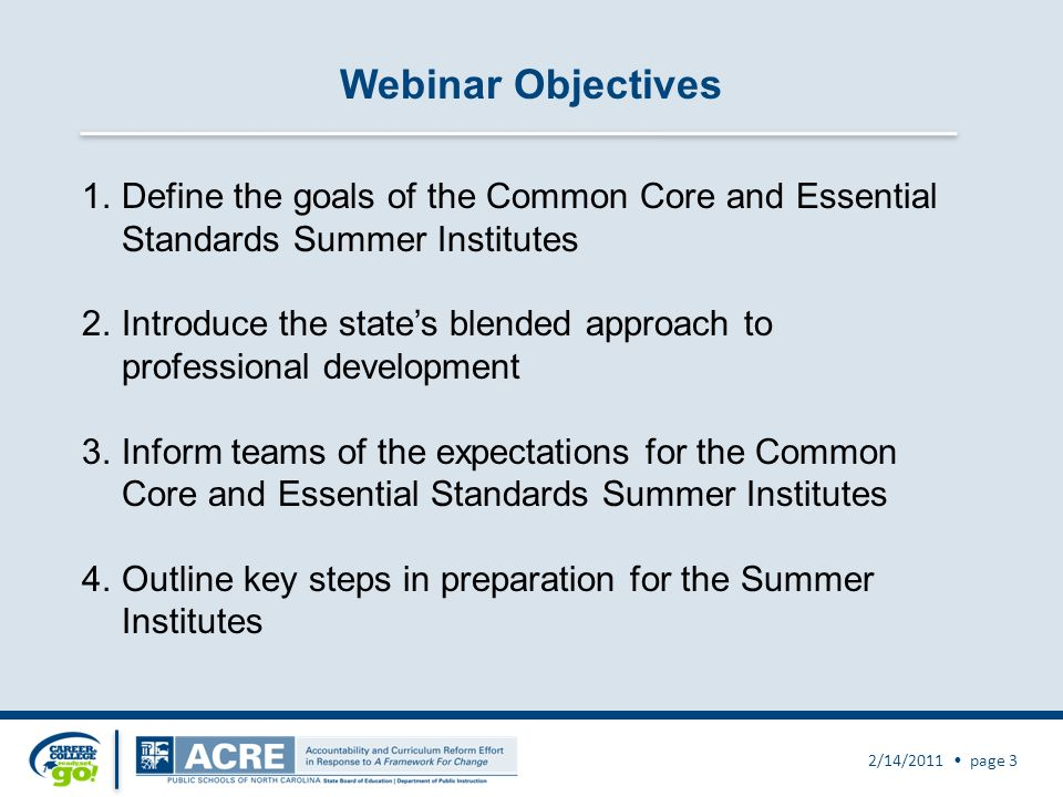 Webinar Objectives 2/14/2011 page 3 1.Define the goals of the Common Core and Essential Standards Summer Institutes 2.Introduce the states blended approach to professional development 3.Inform teams of the expectations for the Common Core and Essential Standards Summer Institutes 4.Outline key steps in preparation for the Summer Institutes