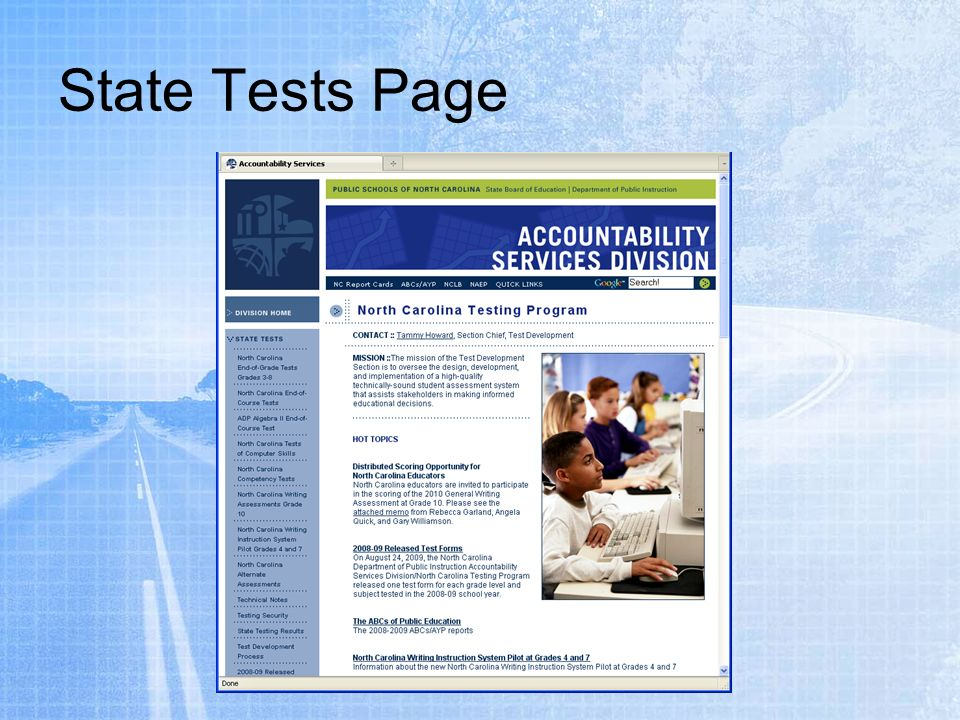 State Tests Page