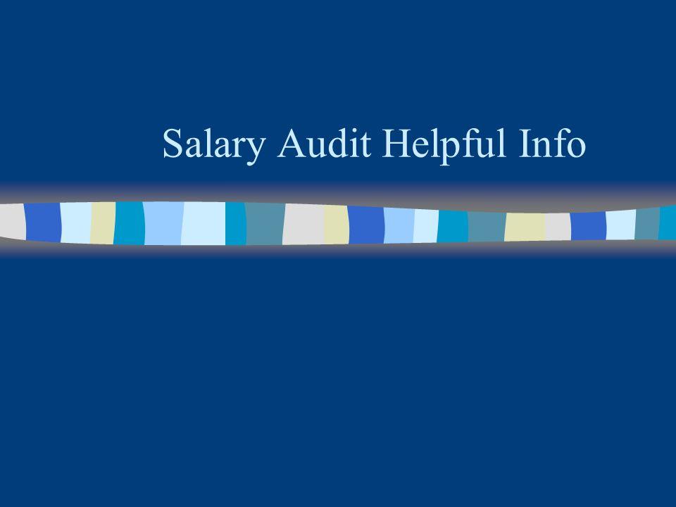 Salary Audit Helpful Info