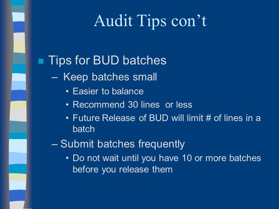 Audit Tips cont n Tips for BUD batches – Keep batches small Easier to balance Recommend 30 lines or less Future Release of BUD will limit # of lines in a batch –Submit batches frequently Do not wait until you have 10 or more batches before you release them