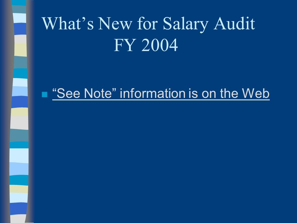 Whats New for Salary Audit FY 2004 n See Note information is on the Web