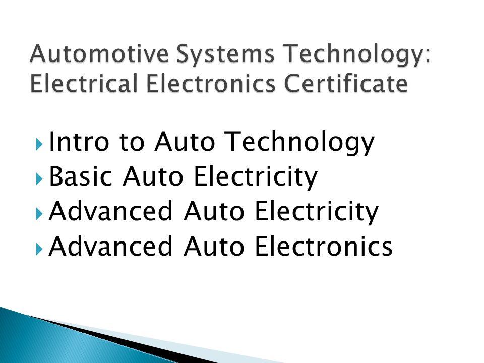 Intro to Auto Technology Basic Auto Electricity Advanced Auto Electricity Advanced Auto Electronics