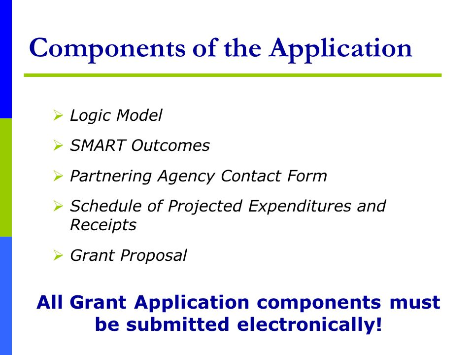 Components of the Application Logic Model SMART Outcomes Partnering Agency Contact Form Schedule of Projected Expenditures and Receipts Grant Proposal