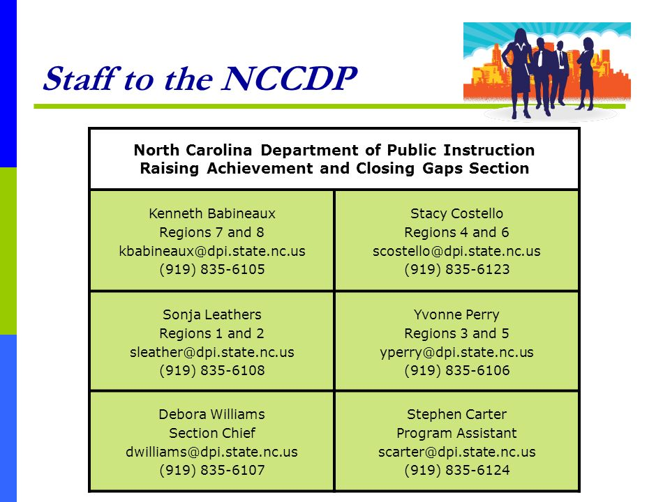 Staff to the NCCDP North Carolina Department of Public Instruction Raising Achievement and Closing Gaps Section Kenneth Babineaux Regions 7 and 8 kbab