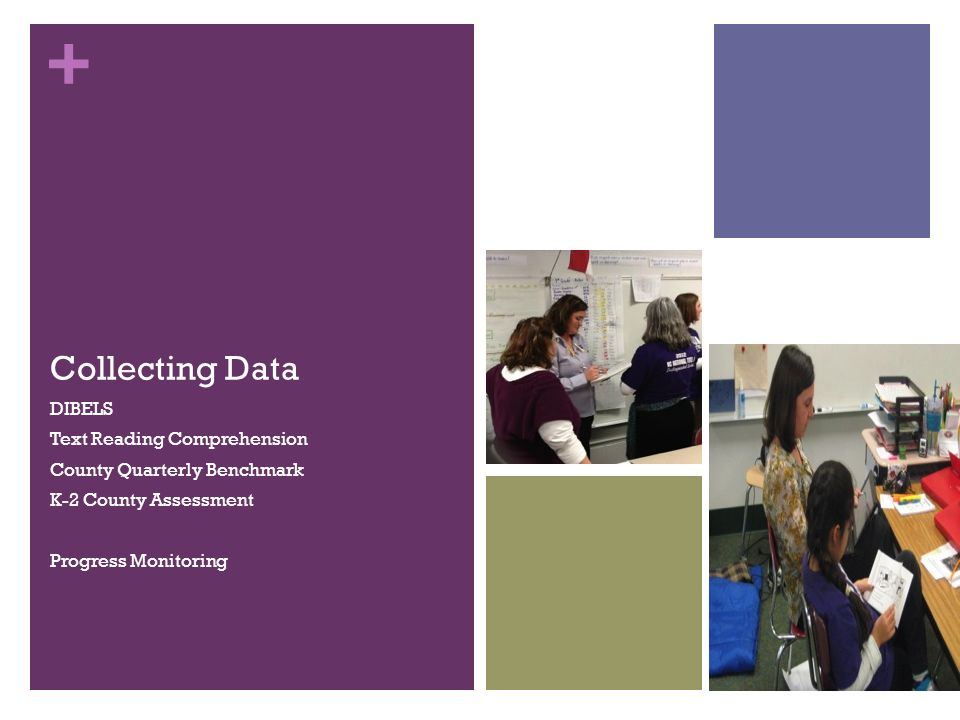 + Collecting Data DIBELS Text Reading Comprehension County Quarterly Benchmark K-2 County Assessment Progress Monitoring