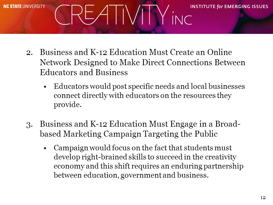 12 2.Business and K-12 Education Must Create an Online Network Designed to Make Direct Connections Between Educators and Business Educators would post