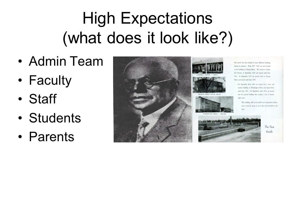 High Expectations (what does it look like?) Admin Team Faculty Staff Students Parents