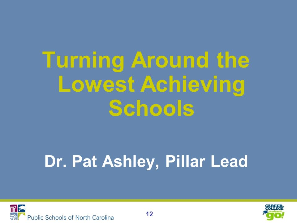12 Turning Around the Lowest Achieving Schools Dr. Pat Ashley, Pillar Lead