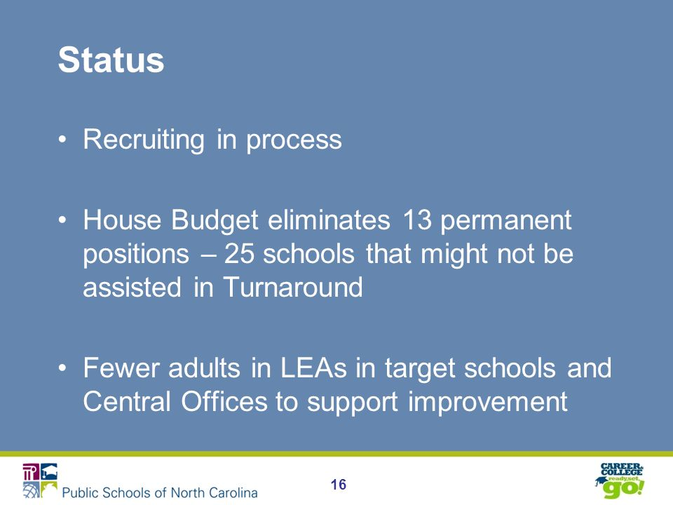 Status Recruiting in process House Budget eliminates 13 permanent positions – 25 schools that might not be assisted in Turnaround Fewer adults in LEAs in target schools and Central Offices to support improvement 16