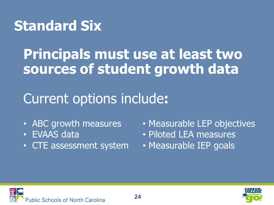 24 Standard Six Principals must use at least two sources of student growth data Current options include: ABC growth measures EVAAS data CTE assessment system Measurable LEP objectives Piloted LEA measures Measurable IEP goals